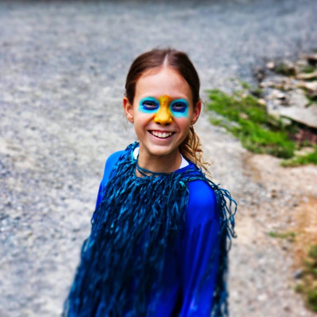girl wearing bird costume