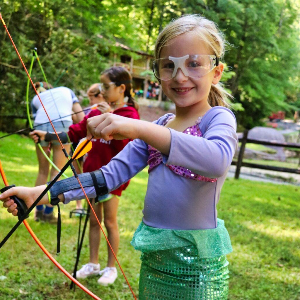 mermaid costume girl archery