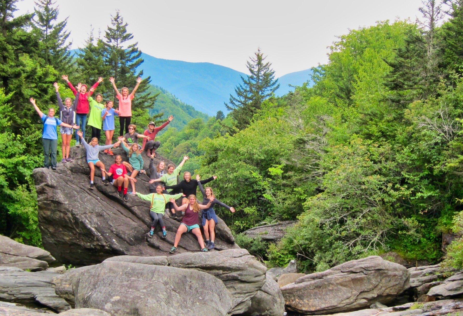 north carolina girls group hiking