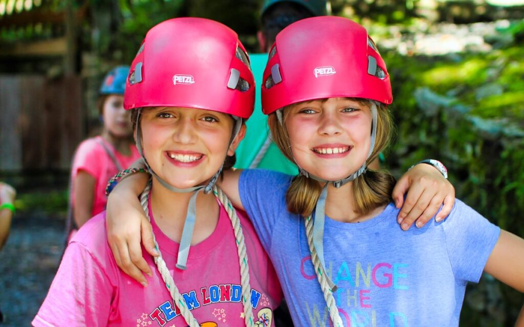 all girls on the camp zipline