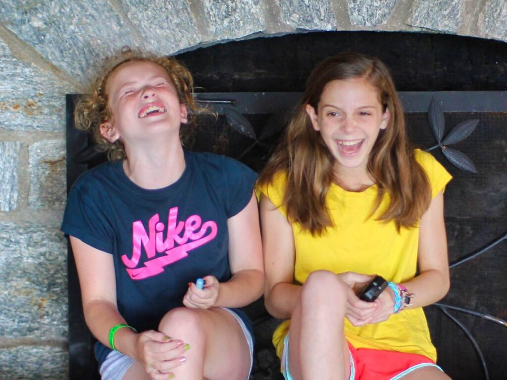 laughing camp friends