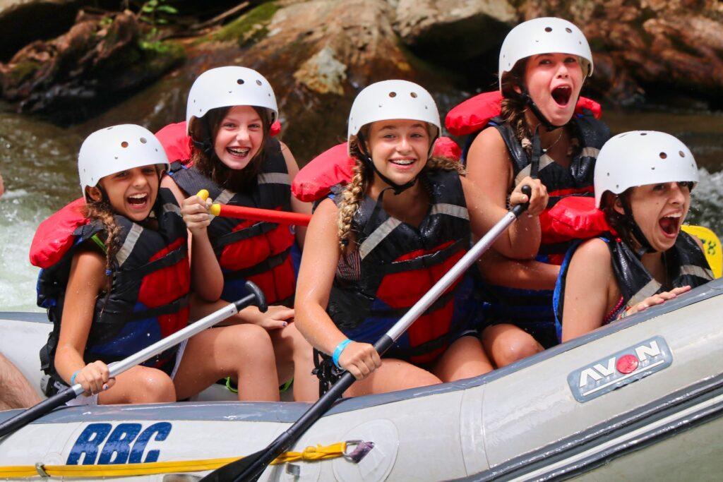 girls camp rafting thrills